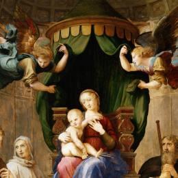 拉斐爾(Raphael)高清作品:Madonna with the Baldachino (detail)