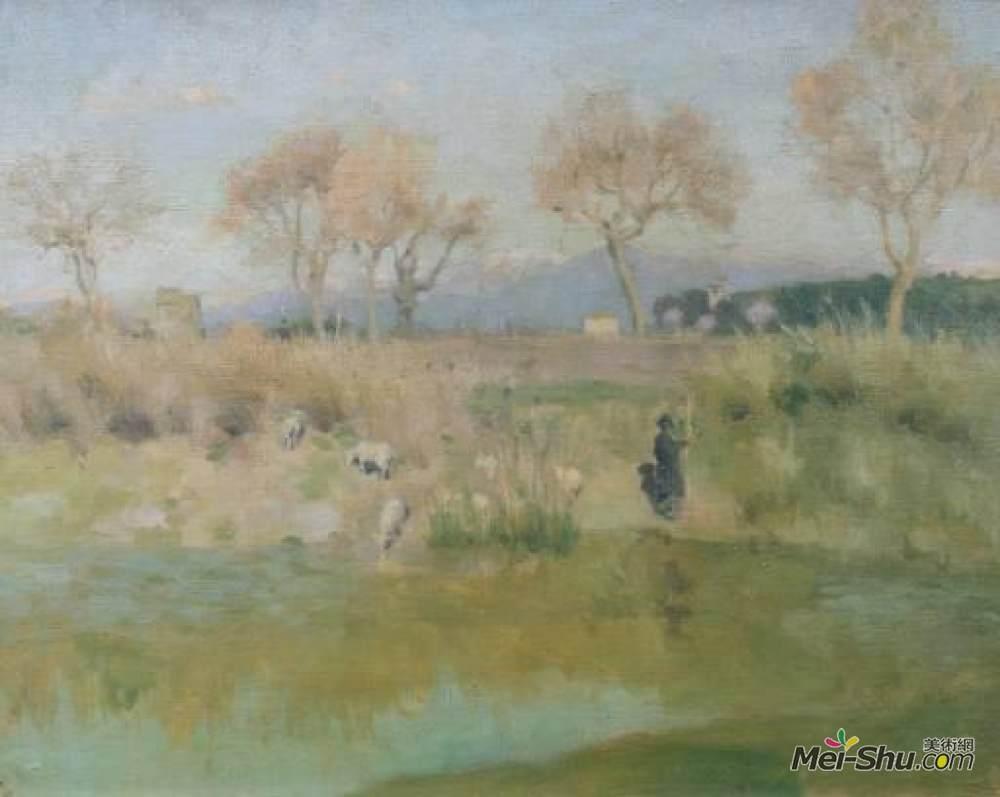 罗杰·弗莱(Roger Fry)高清作品《牧羊人的风景,罗马玛德拉别墅附近》