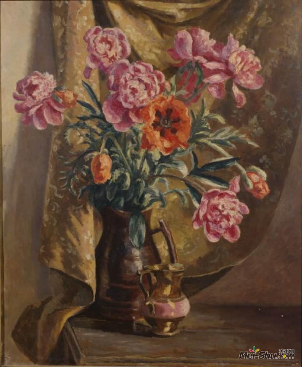 罗杰·弗莱(Roger Fry)高清作品《牡丹和罂粟花》