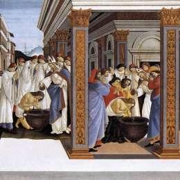 《圣澤諾比厄斯的洗禮與主教的任命》山德羅·波提切利(Sandro Botticelli)高清作品欣賞