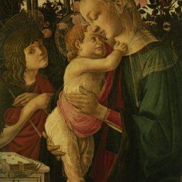 《麥當娜和孩子與嬰兒圣施洗約翰》山德羅·波提切利(Sandro Botticelli)高清作品欣賞