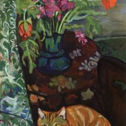 《花束與貓》蘇珊娜·瓦拉東(Suzanne Valadon)高清作品欣賞