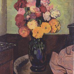 《圓桌上的花瓶》蘇珊娜·瓦拉東(Suzanne Valadon)高清作品欣賞