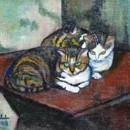《兩只貓》蘇珊娜·瓦拉東(Suzanne Valadon)高清作品欣賞