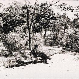 西奧多·阿曼(Theodor Aman)高清作品:Reading in the Cismigiu Garden