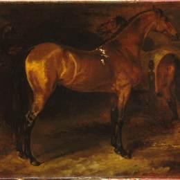 《馬廄里的西班牙馬》泰奧多爾·席里柯(Theodore Gericault)高清作品欣賞