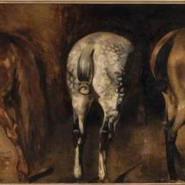 《三匹馬的臀部》泰奧多爾·席里柯(Theodore Gericault)高清作品欣賞