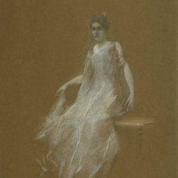 《懷特夫人在1895年》托馬斯·杜因(Thomas Dewing)高清作品欣賞