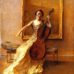《大提琴女郎》托馬斯·杜因(Thomas Dewing)高清作品欣賞