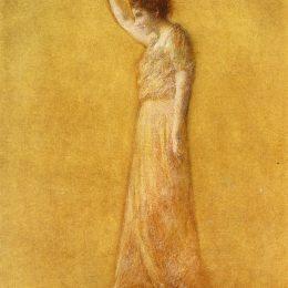 《粉紅色的女人》托馬斯·杜因(Thomas Dewing)高清作品欣賞