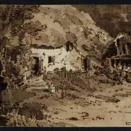 《樹木間的茅草屋》托馬斯·格爾丁(Thomas Girtin)高清作品欣賞