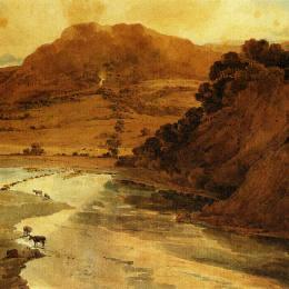 《在約克郡博爾頓修道院附近》托馬斯·格爾丁(Thomas Girtin)高清作品欣賞