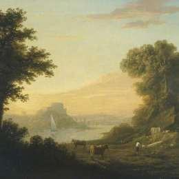《與河的古典風景》托馬斯·瓊斯(Thomas Jones)高清作品欣賞