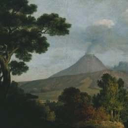 《從教堂的塔上,近那不勒斯的維蘇威火山》托馬斯·瓊斯(Thomas Jones)高清作品欣賞