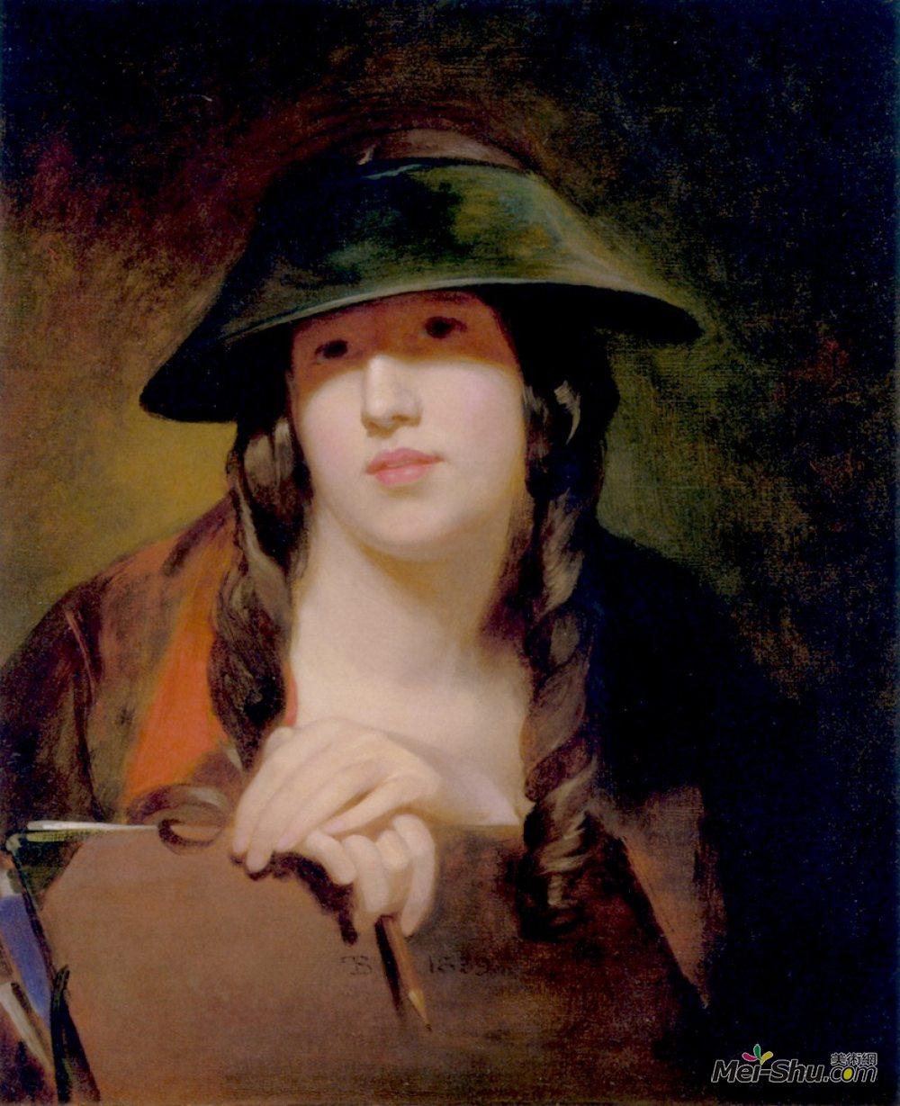 托马斯·苏利(Thomas Sully)高清作品《Rosalie Kemble Sully as The Student》
