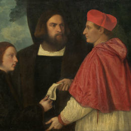 《具有里程碑意義的里程碑.與角落的投資基數,方丈院》提香·韋切利奧(Titian)高清作品欣賞