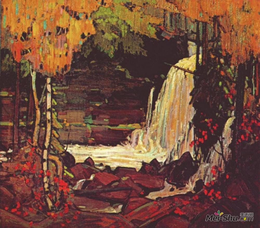 汤姆·汤姆森(Tom Thomson)高清作品《林地瀑布》