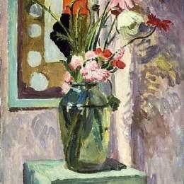《在一個玻璃花瓶的花有抽象針線設計的》瓦內薩·貝爾(Vanessa Bell)高清作品欣賞