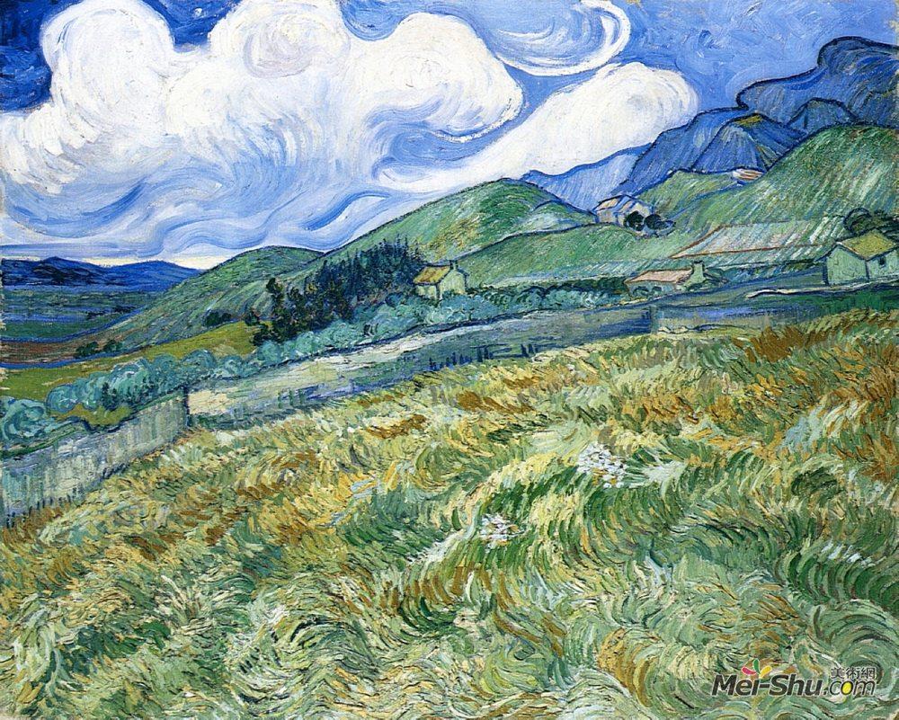 文森特·梵高(Vincent van Gogh)高清作品《Wheatfield with Mountains in the Background》