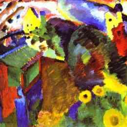 《默諾花園》瓦西里·康定斯基(Wassily Kandinsky)高清作品欣賞