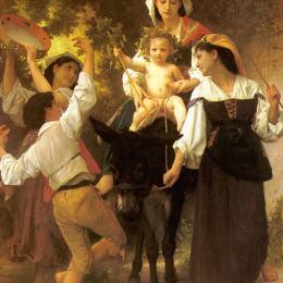 《從收獲中回來》威廉·阿道夫·布格羅(William-Adolphe Bouguereau)高清作品欣賞