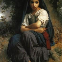 《小編織者》威廉·阿道夫·布格羅(William-Adolphe Bouguereau)高清作品欣賞