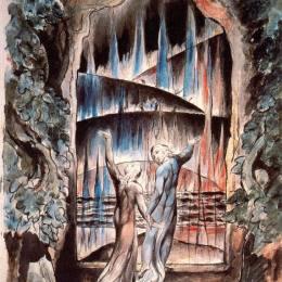 《但丁和維吉爾在地獄之門》威廉·布萊克(William Blake)高清作品欣賞