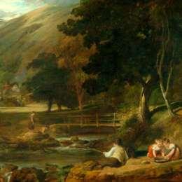 威廉·柯林斯(William Collins)高清作品:Borrowdale, Cumberland, with Children Playing by the Banks o