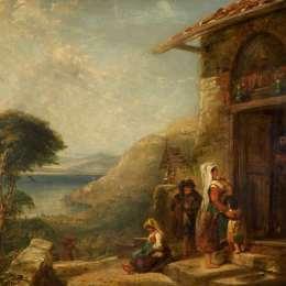 威廉·柯林斯(William Collins)高清作品:Poor Travellers at the Door of a Capuchin Convent near Vico,