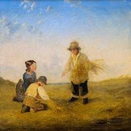 《三個數字采集小麥》威廉·柯林斯(William Collins)高清作品欣賞