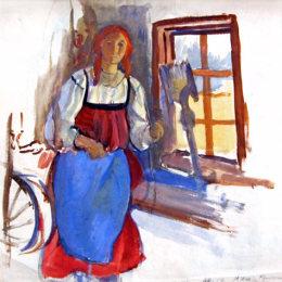 《年輕女孩》齊內達·塞萊布里阿庫娃(Zinaida Serebriakova)高清作品欣賞