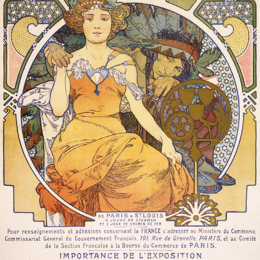 阿尔丰斯·慕夏(Alphonse Mucha)高清作品:Art nouveau color lithograph poster showing a seated woman c