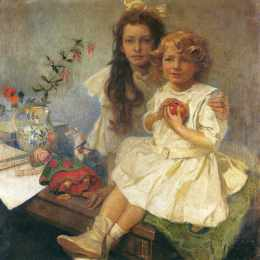 阿尔丰斯·慕夏(Alphonse Mucha)高清作品:Jaroslava and Jiri The Artist s Children