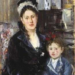 贝尔特·摩里索特(Berthe Morisot)高清作品:Mme Boursier and Her Daughter