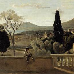 贝尔特·摩里索特(Berthe Morisot)高清作品:View of Tivoli (after Corot)
