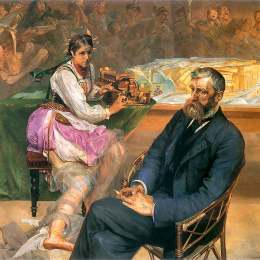 杰西克马尔塞夫斯基(Jacek Malczewski)高清作品:Portrait of Adam Asnyk with a Muse