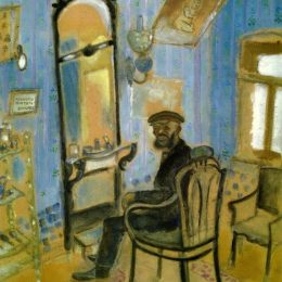 马克·夏加尔(Marc Chagall)高清作品:Barbers Shop (Uncle Zusman)