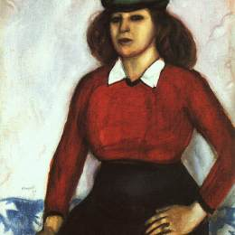 马克·夏加尔(Marc Chagall)高清作品:Portrait of artists sister (Aniuta)
