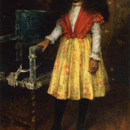 威廉·梅里特·切斯(William Merritt Chase)高清作品:Portrait of Erla Howell (Little Miss H.)